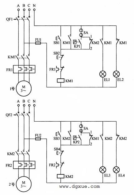 双电动机自动切换运行控制电路接线图