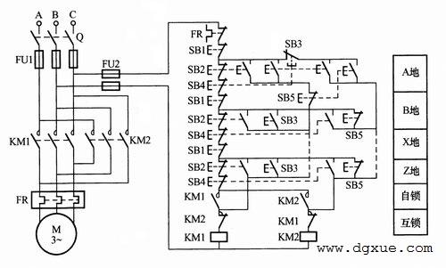 电动机多地正反转启动、停止、点动控制电路接线图