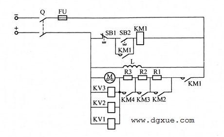 按速度原则切除启动电阻控制直流电动机起动的电路
