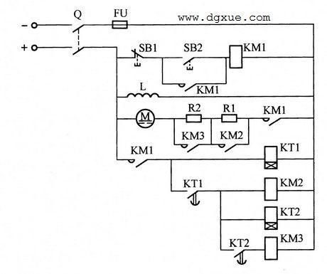 按时间原则切除启动电阻控制直流电动机起动的电路