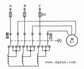 笼型电动机自耦变压器启动手动控制电路