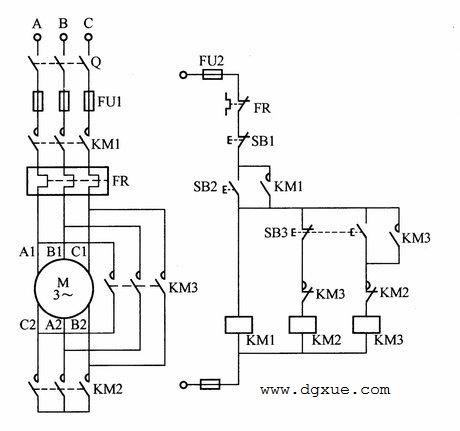 按钮控制星三角降压启动(三个接触器)电路