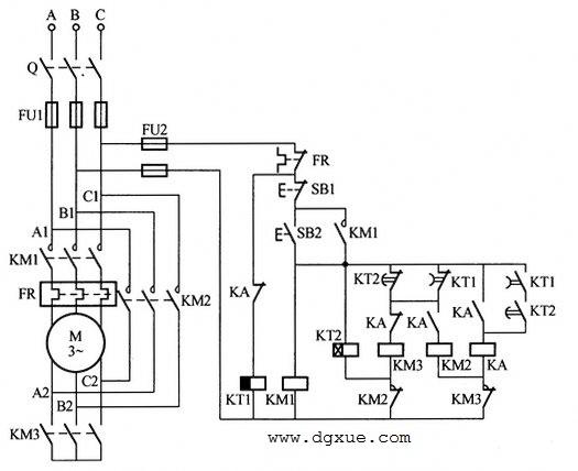 中间、时间继电器延时转换Y-△星三角降压启动