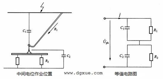 中间电位作业位置和等值电路图