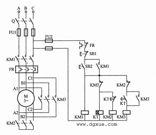 用时间继电器自动切换星三角Y-△降压启动电路接线图