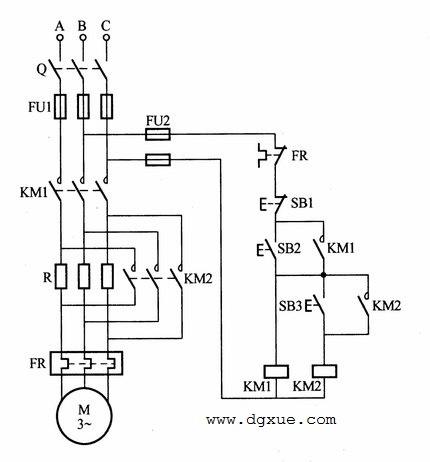 电动机定子绕组串联电阻按钮操作降压启动电路接线图