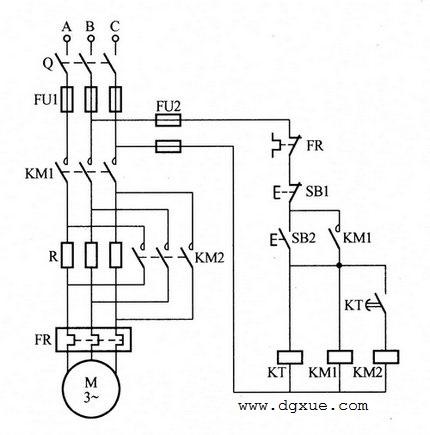 电动机定子绕组串联电阻自动切换降压启动电路接线图