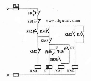 定子绕组串联电阻降压启动的手动、自动控制电路接线图