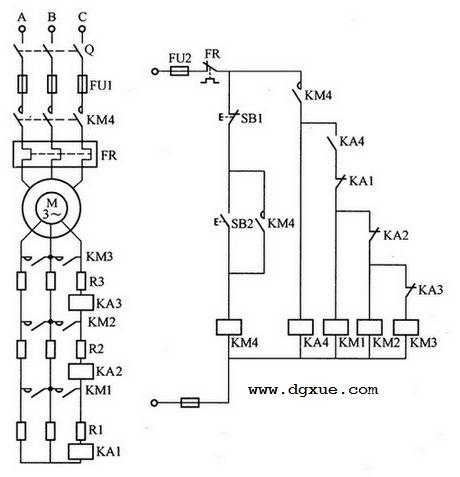 按电流原则控制转子串联电阻降压启动电路接线图解