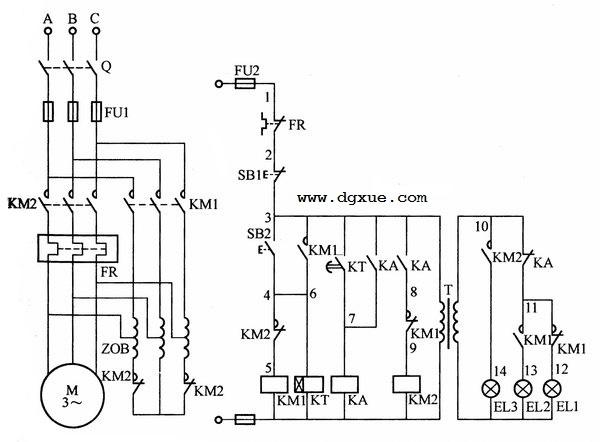 使用自耦变压器与时间继电器的电动机降压起动控制电路接线图
