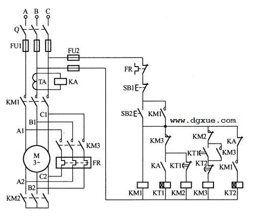 电动机Y-△-Y(星-三角-星)形连接转换节能控制电路