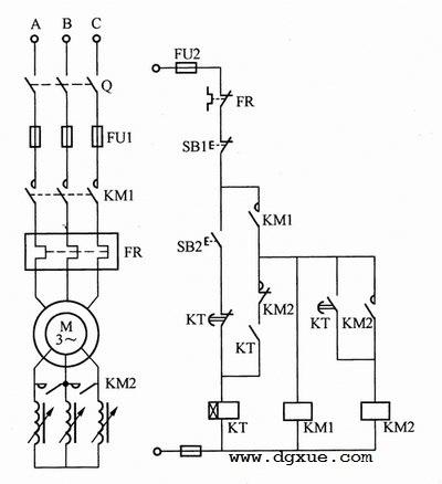 电动机频敏变阻器降压启动控制电路接线图