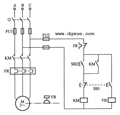 电磁抱闸给电动机制动电路图