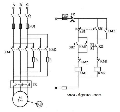 异步电动机反接制动控制电路接线图