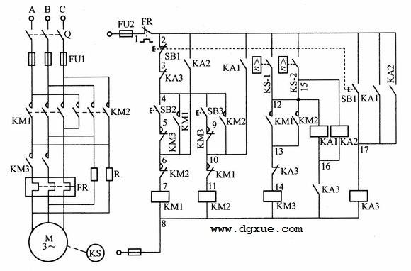 电动机可逆反向转动反接制动控制电路接线图