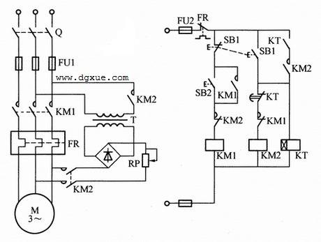 时间继电器控制异步电动机能耗制动电路