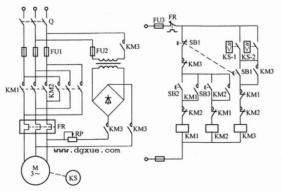 速度继电器控制异步电动机能耗制动电路