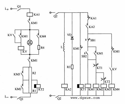 电压继电器控制直流电动机能耗制动电路