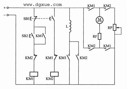 按钮控制直流电动机反接制动电路接线图