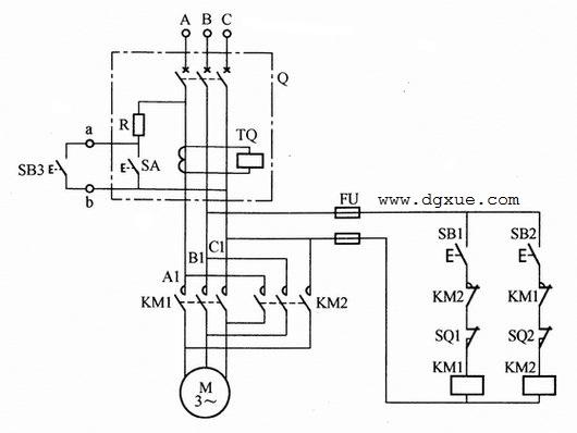 利用漏电开关作为电动机紧急停止开关的电路