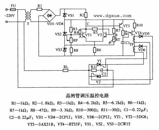 晶闸管调压温控电路