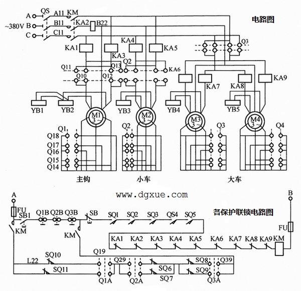 凸轮控制器直接控制的10t桥式起重机电路