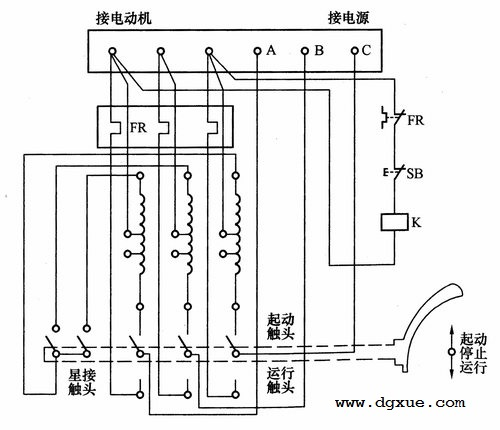自耦降压启动器手动控制电路接线图
