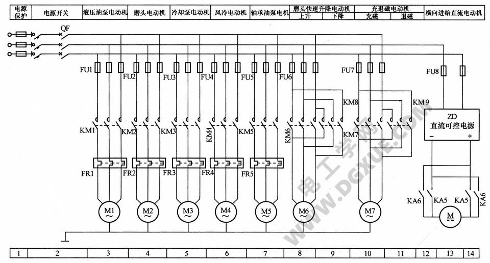 MG7125高精度磨床电气控制电路图