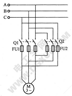电动机双闸刀开关保护装置电路