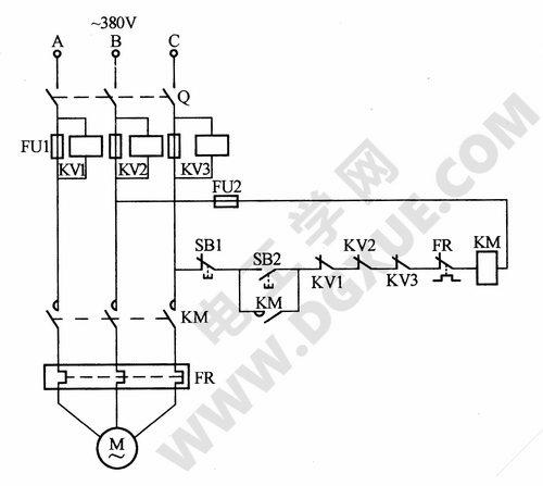 电动机缺相(断丝电压)保护电路图