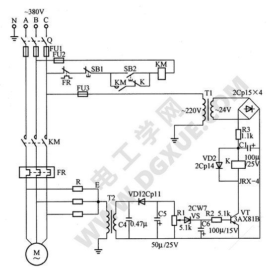 三角形联结电动机零序电压继电器断相保护电路