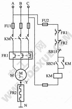 星形联结电动机用热继电器缺相保护电路图