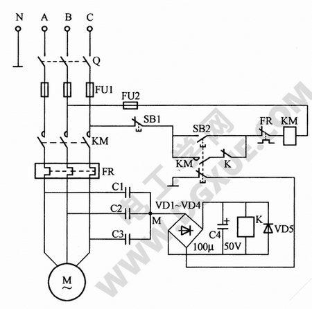 节电式零序电压电动机缺相保护电路