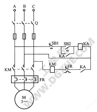 加一只中间继电器的电机缺相保护电路图