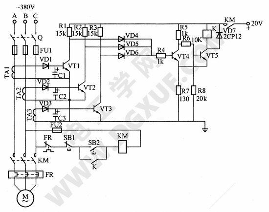 电动机缺相自动保护电路(电流型)图