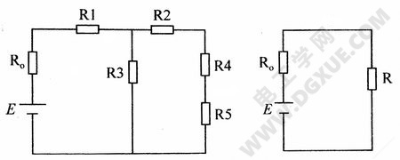 简单电路的简化:(左)原始电路、(右)简化电路