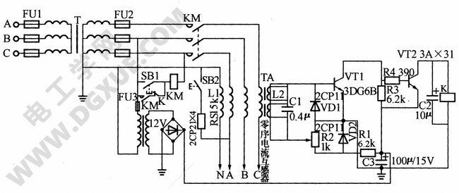 如下图所示是一种低压电压型触电保护器电路