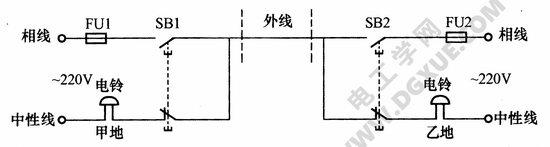 单线远程控制双向电铃电路图