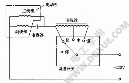 电抗器调速电风扇电路