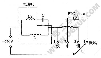 PTC元件调速电风扇电路图