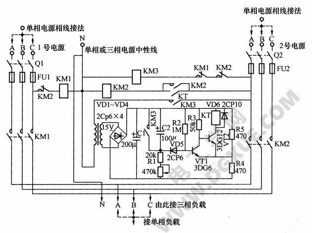 双路三相电源备用电源自投电路
