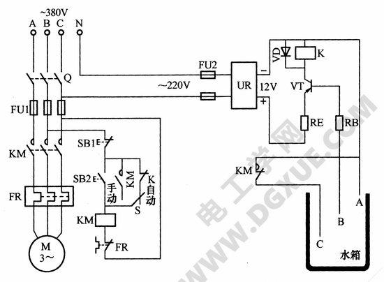 控制的电路,图中km为交流接触器