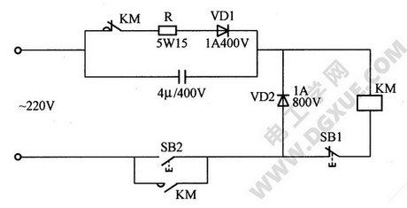 交流接触器无声启动电动机运行电路