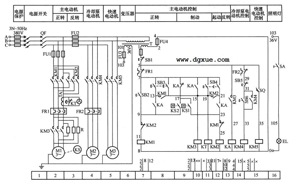 C650普通车床继电接触器控制电路图