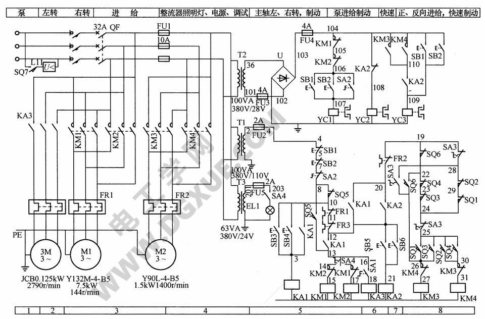 XA6132型卧式万能铣床电气控制电路图