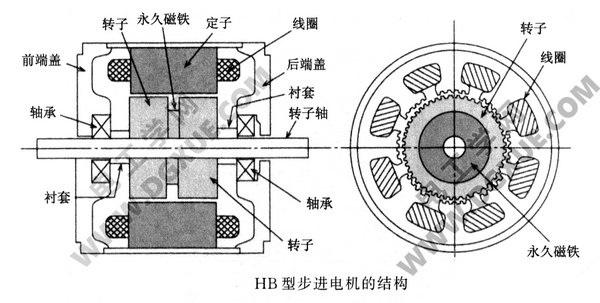 HB型混合式步进电机的结构示意图
