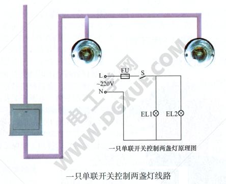 一只单联开关控制两盏灯线路接线图